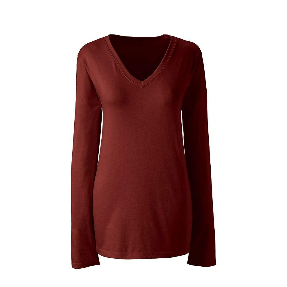 8360c3b8a07b Lands' End Women's Plus Size Supima Cotton Long Sleeve T-Shirt - Relaxed V- Neck, 1X, Bright Rust