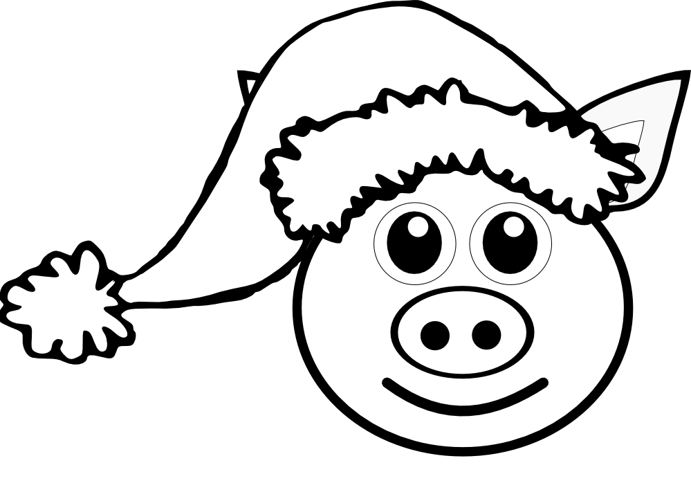 pig 1 face pink with santa hat black white line art christmas xmas