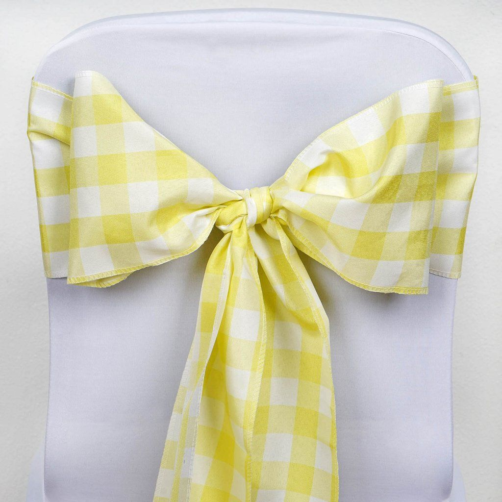 Gingham Chair Sashes 5 Pcs Yellow White Buffalo Plaid Checkered Polyester Chair Sashes In 2020 Chair Sashes Outdoor Party Decorations Gingham Decorations