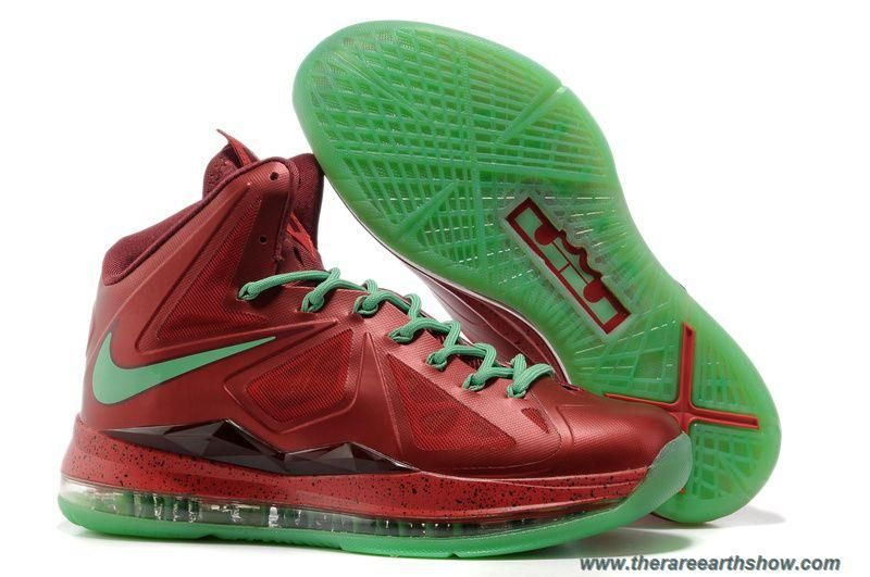 the latest d5fe6 95734 New Nike Lebron X (10) Red Green Style Christmas 541100-600