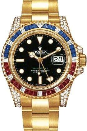 c6f55649592 Men's #Fashion #Jewelry: Rolex GMT Master II Yellow Gold Watch,  Ruby/Sapphire/Diamond Bezel, Black Dial: #Watches