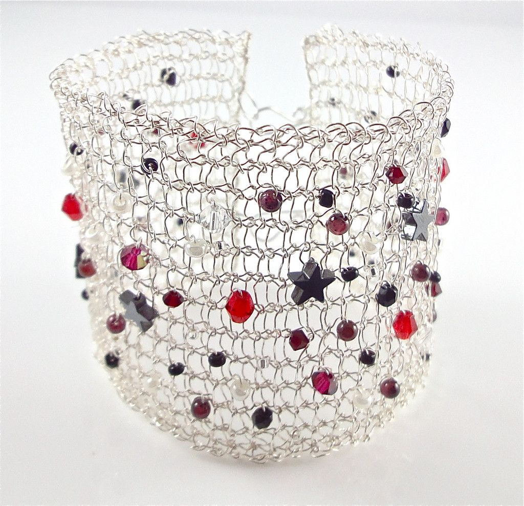 Knitted Wire Cuff Bracelet, Red, Black and White. Hand made by Polly ...