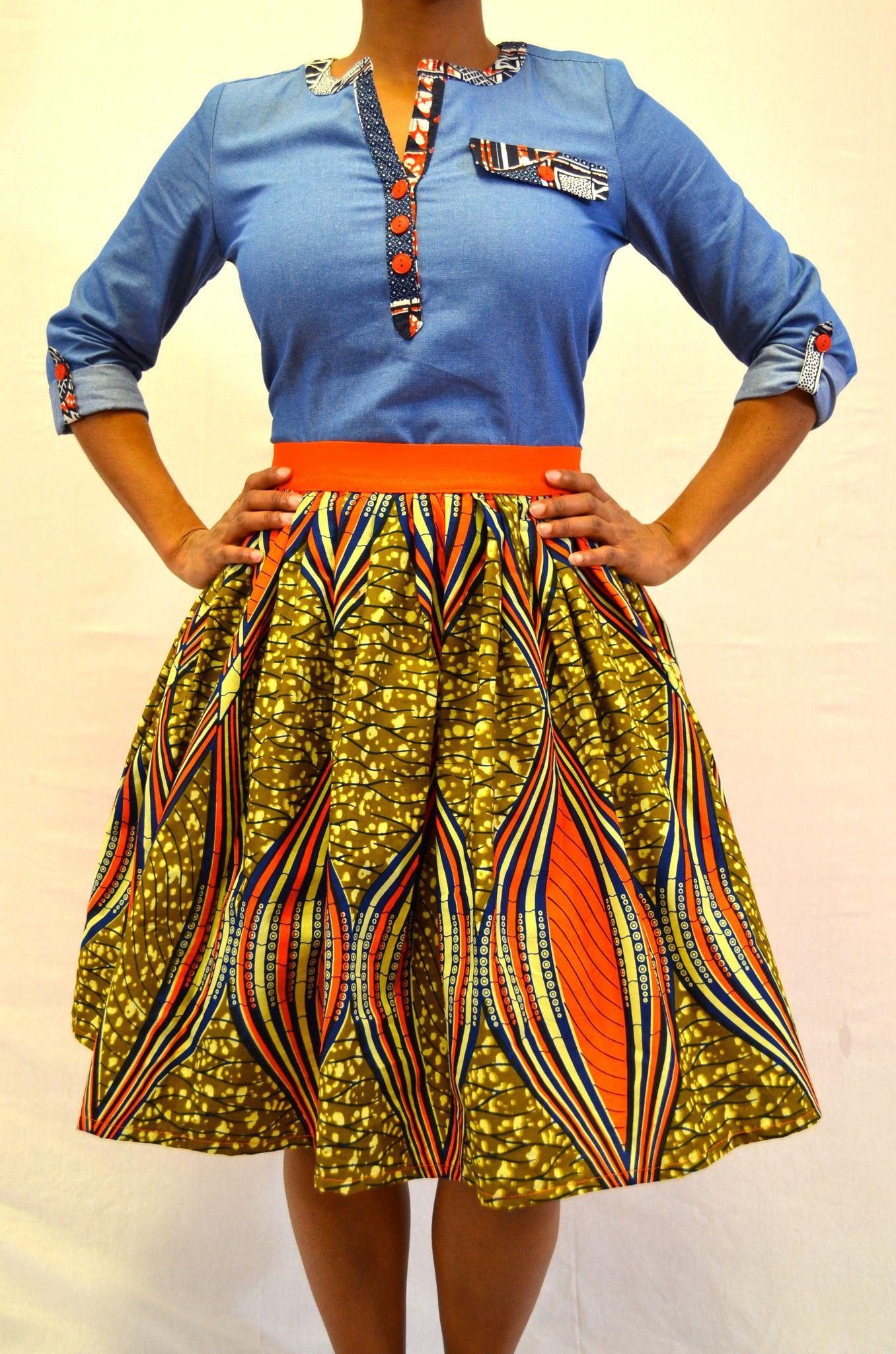 Orange Imani Skirt African Attire African Fashion Dresses
