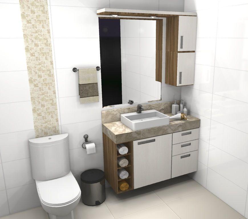 Banheiro sob medida pequeno 3 bancada de pia pinterest for Decorar piso pequeno fotos