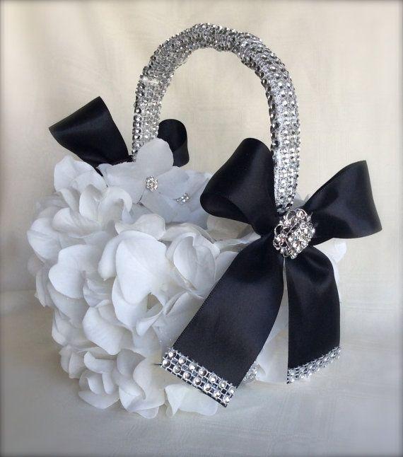 Black and white flower girl basket bling basket white flower girl black and white flower girl basket bling by thecrystalflower mightylinksfo