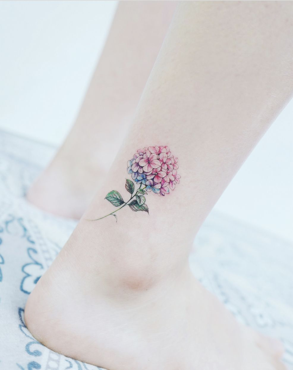 Hydrangea Ankle Tattoo Ankle Tattoo Small Tattoos Hydrangea Tattoo