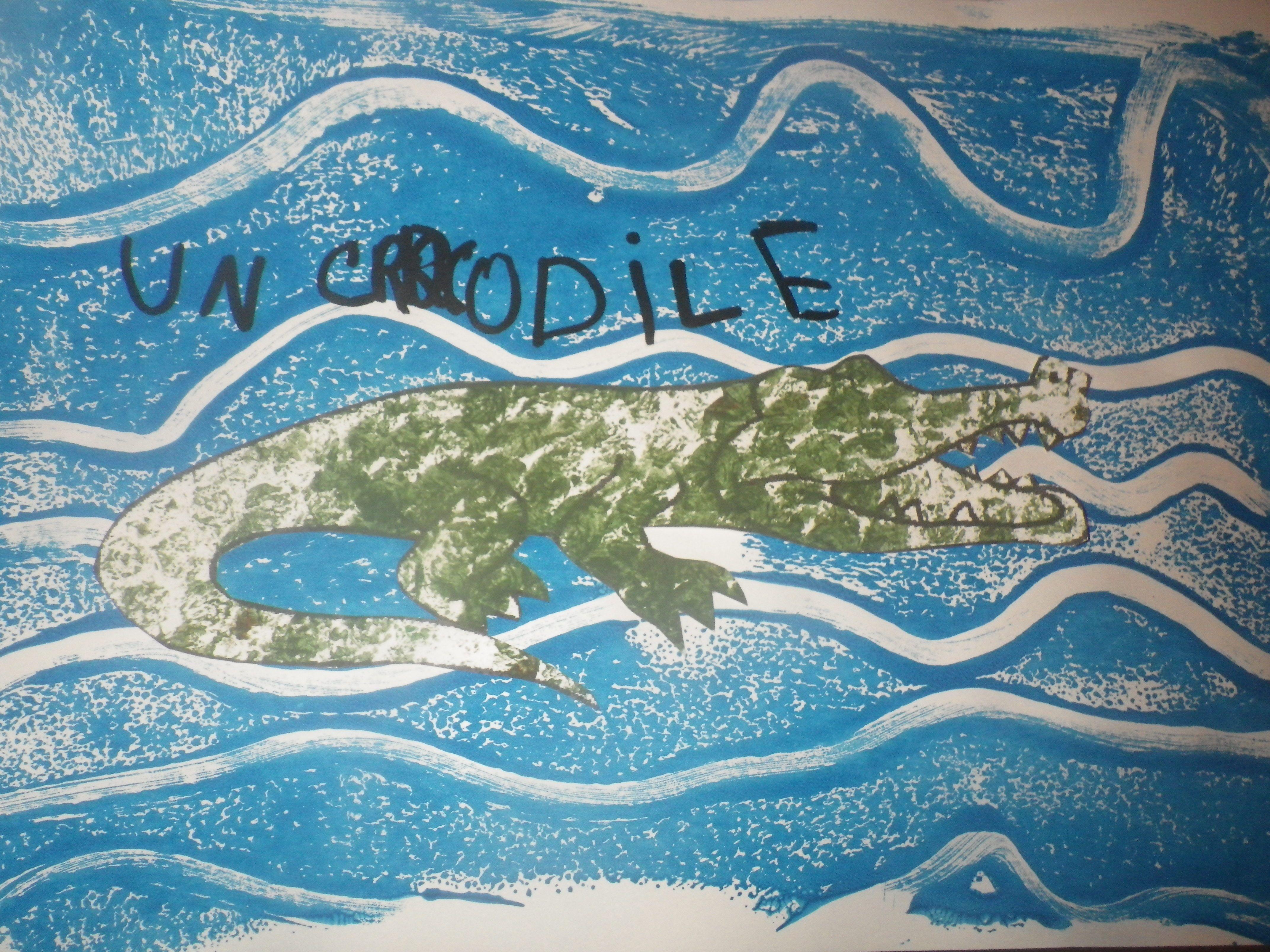 Pour cloturer notre travail sur les reptiles nous avons for Peinture crocodile