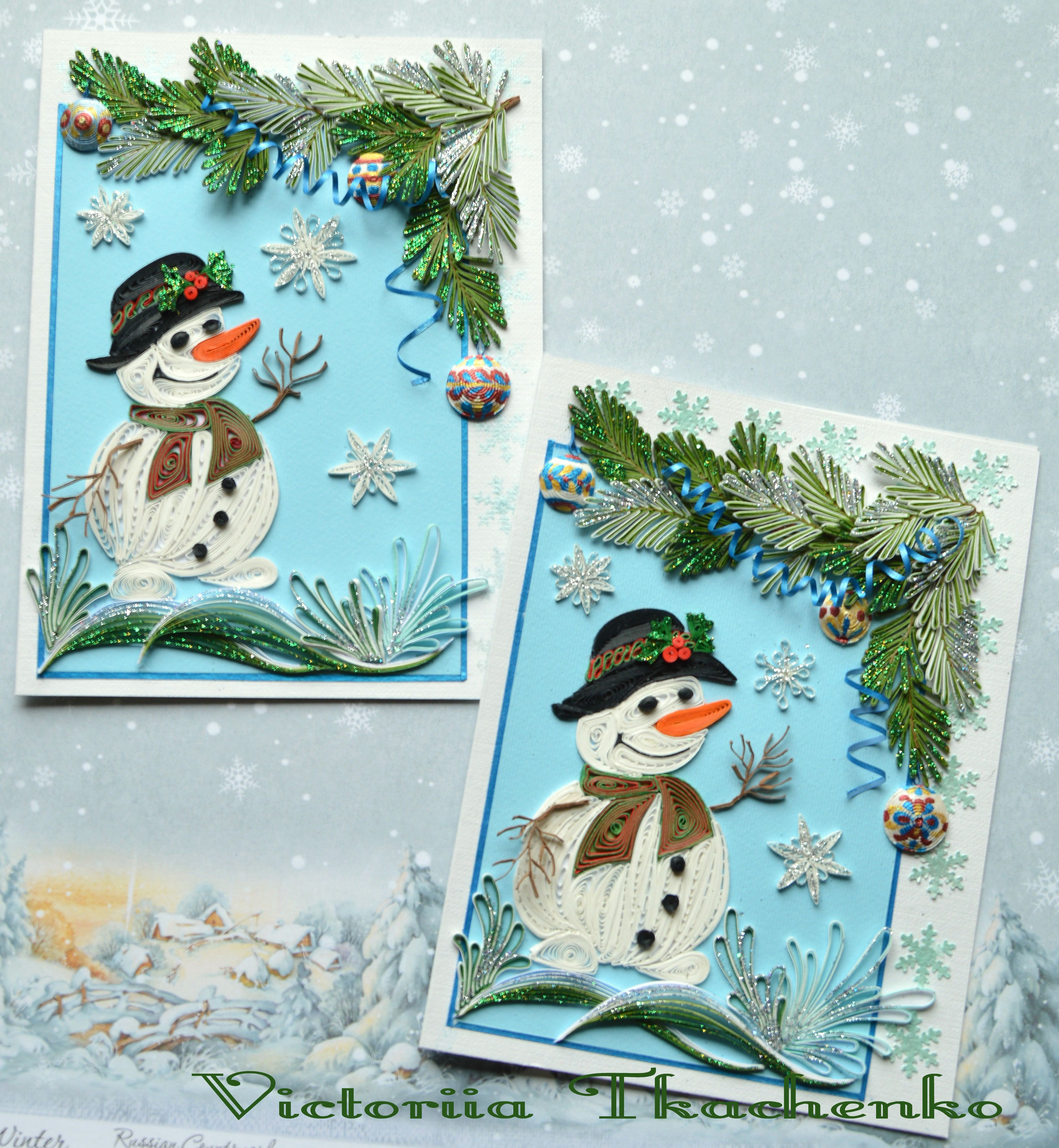 Quilled Card With Cute Snowmen