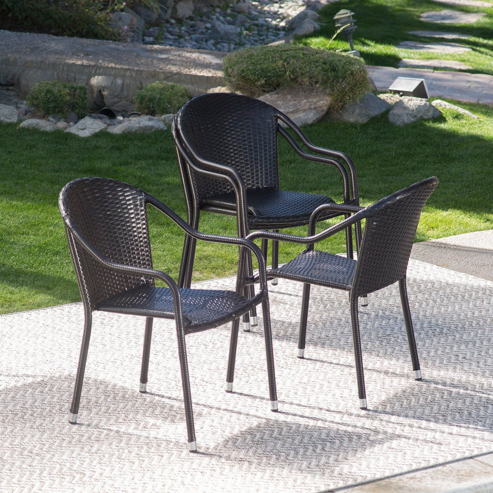 Coral Coast Berea Outdoor Wicker Stackable Chairs   Set Of 4   From  Hayneedle.com