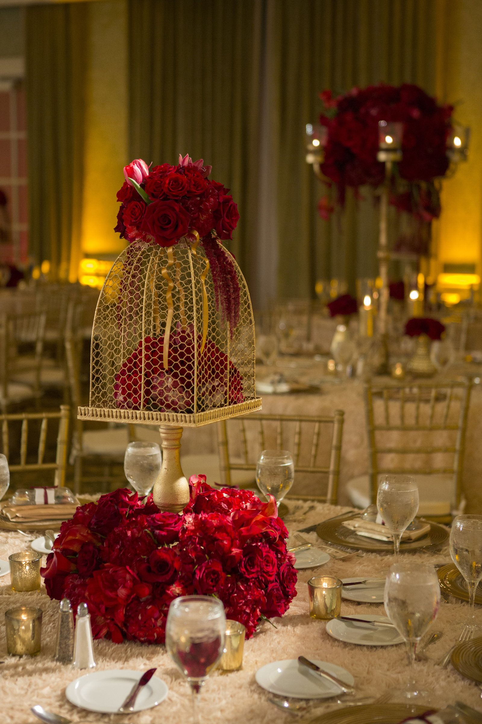 Wedding decorations red  Christine Bentley Photography  Floral centerpieces Centerpieces