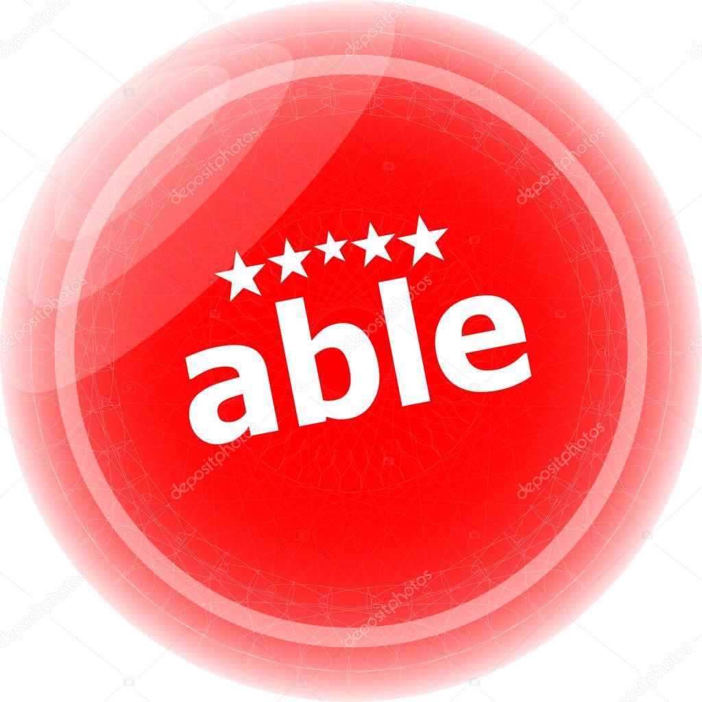 Able Word Stickers Icon Button Isolated White Stock