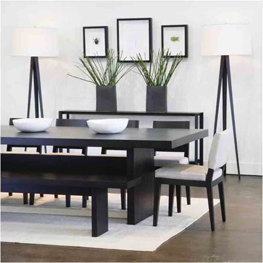 Black Oriental Wood Table White Chairs Minimalist Dining Room
