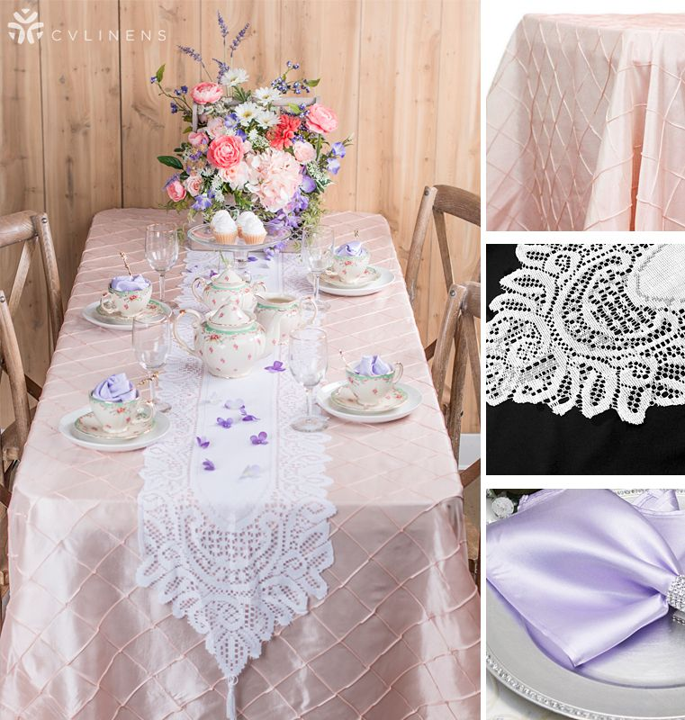 Blush Pintuck Lavender Satin Napkins And Lace Runner Wholesale