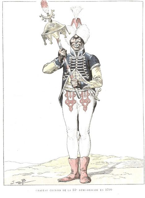 Negro Musician of 57th Demi Brigade in 1799. It was common at this time for military bands to recruit men of African descent to be dressed in fanciful versions of Turkish uniforms and many played such instruments as the Chinese Cap shown or Jingling Johnny