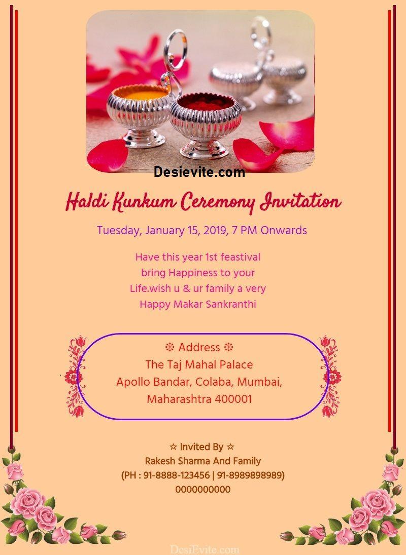 Haldi Kunkum Invitation Card Invitation Cards Online