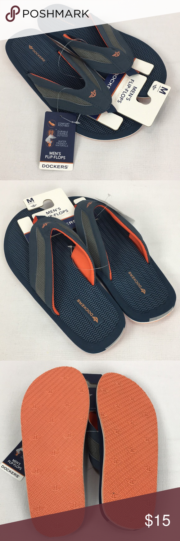 0efc95986e3a Dockers Men s Thong Flip Flops Water Friendly Med Brand new with tags men s  Thong Flip Flop