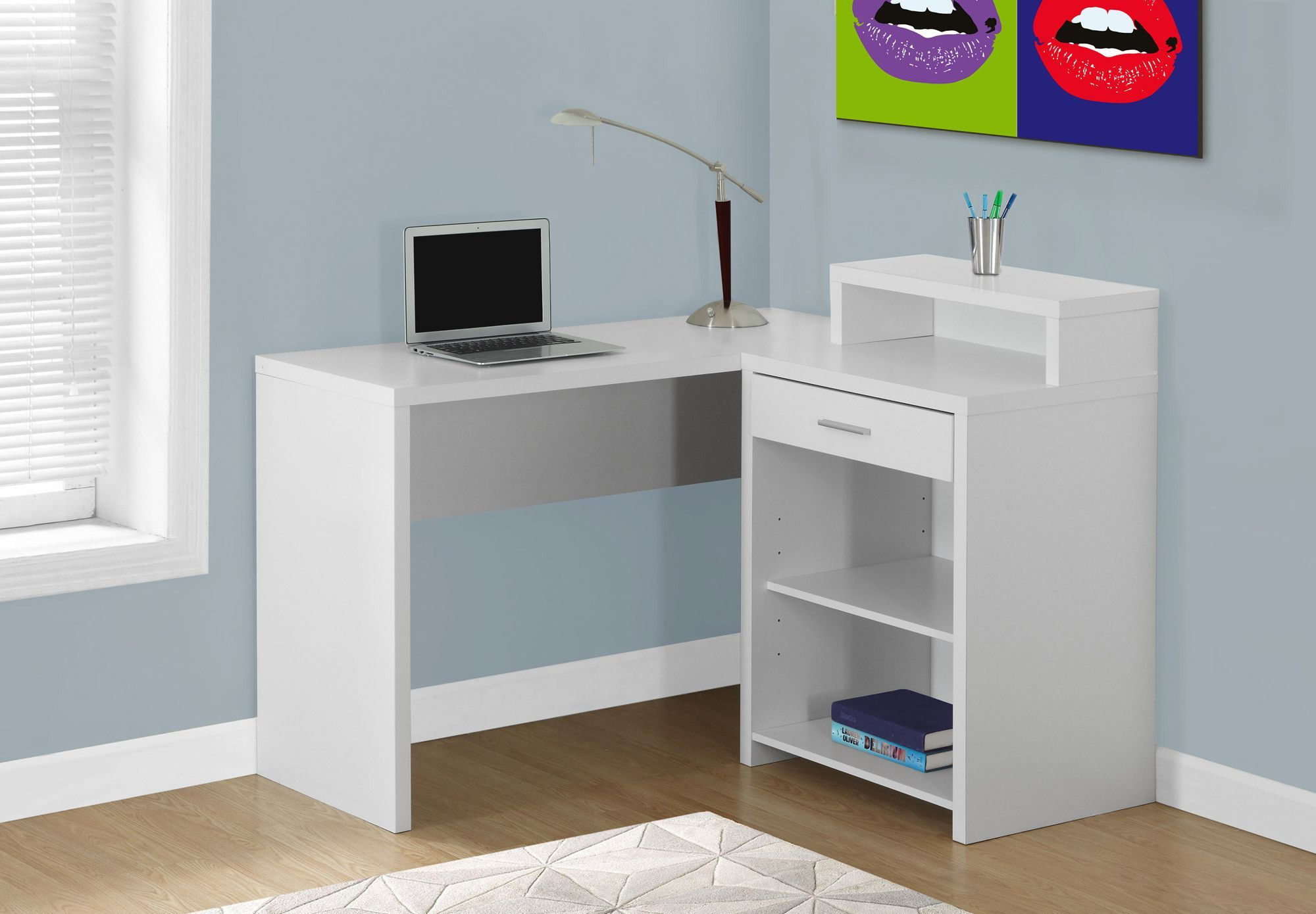 White Reversible L Shaped Corner Desk With Shelving L Shaped