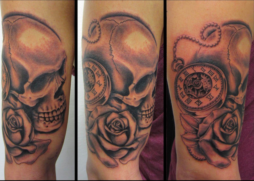 Sleave Done By Niels Skull Rose Pocketwatch Watch