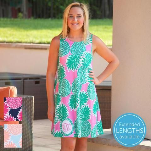 Ladies Custom Print Pineapple Rose Swing Dress