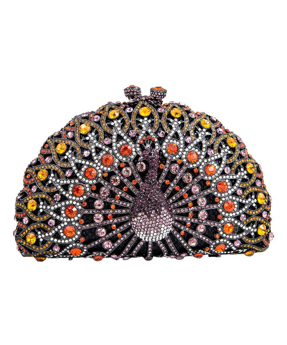Purple Crystal Peacock Clutch