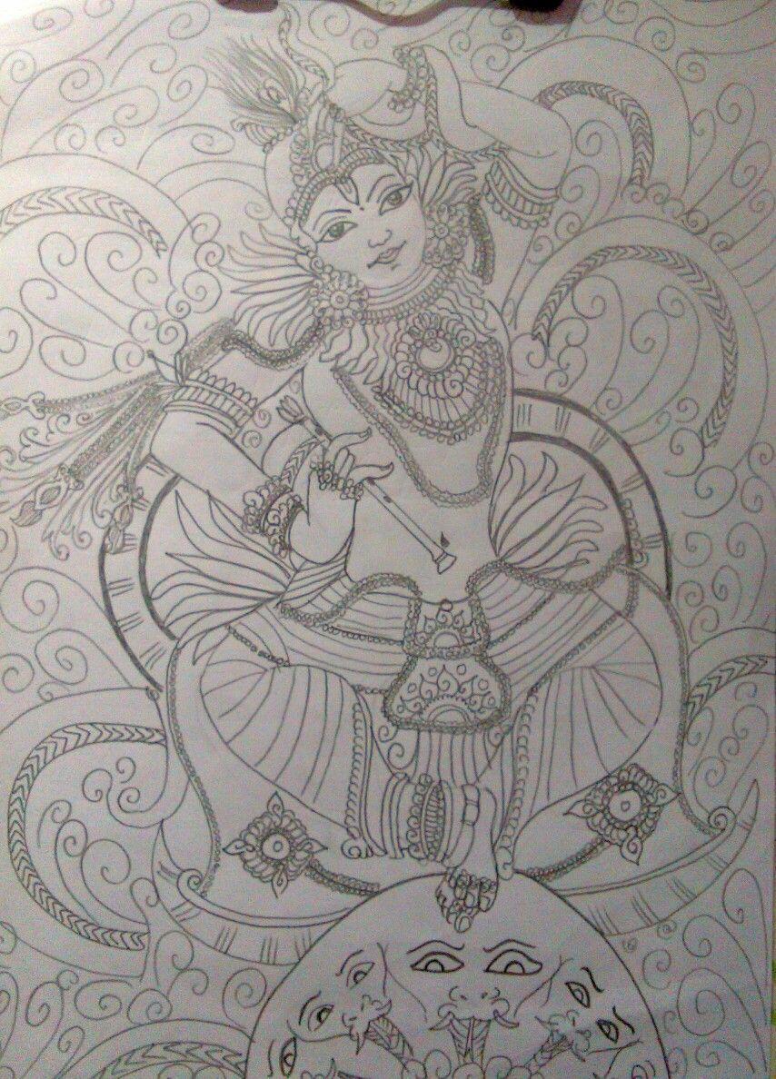 Kerala Mural - Pencil Drawing - Kaliyamardhanam in 2019 ...
