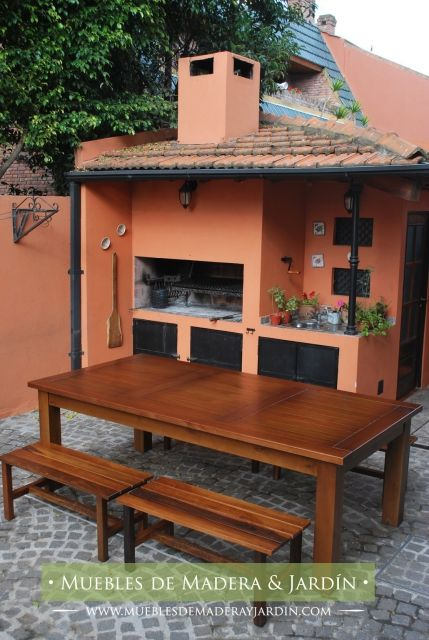 Mesa de madera para patio mesas pinterest barbacoa patios and pergolas - Mesa para barbacoa ...