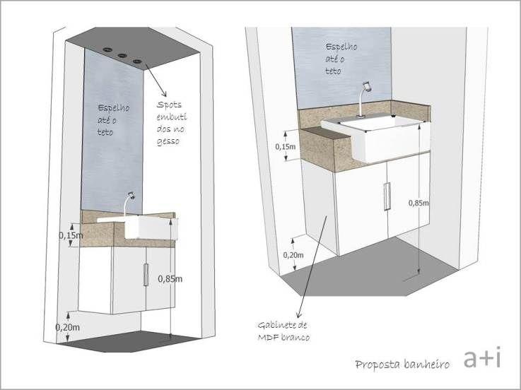 Tamanho De Espelho Banheiro : Projeto bancada banheiro eleva?es em desenho e