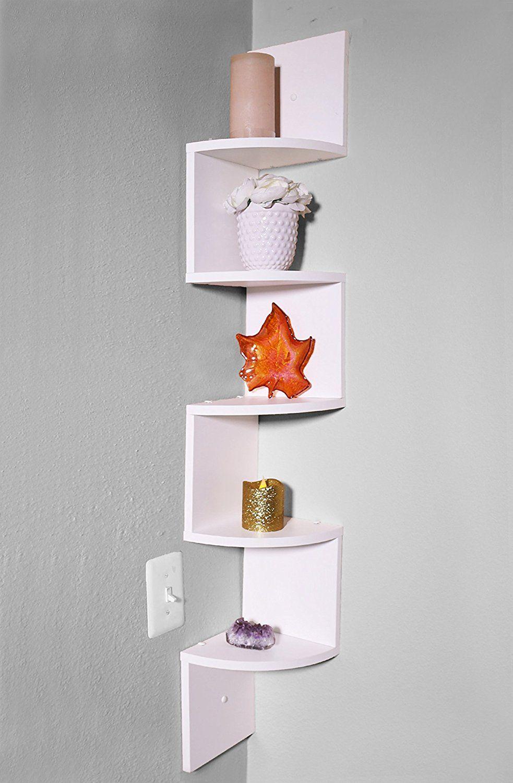 Amazon Com Adorn Corner White Shelves 5 Tier Home Amp Kitchen White Shelves Wall Mounted Shelves