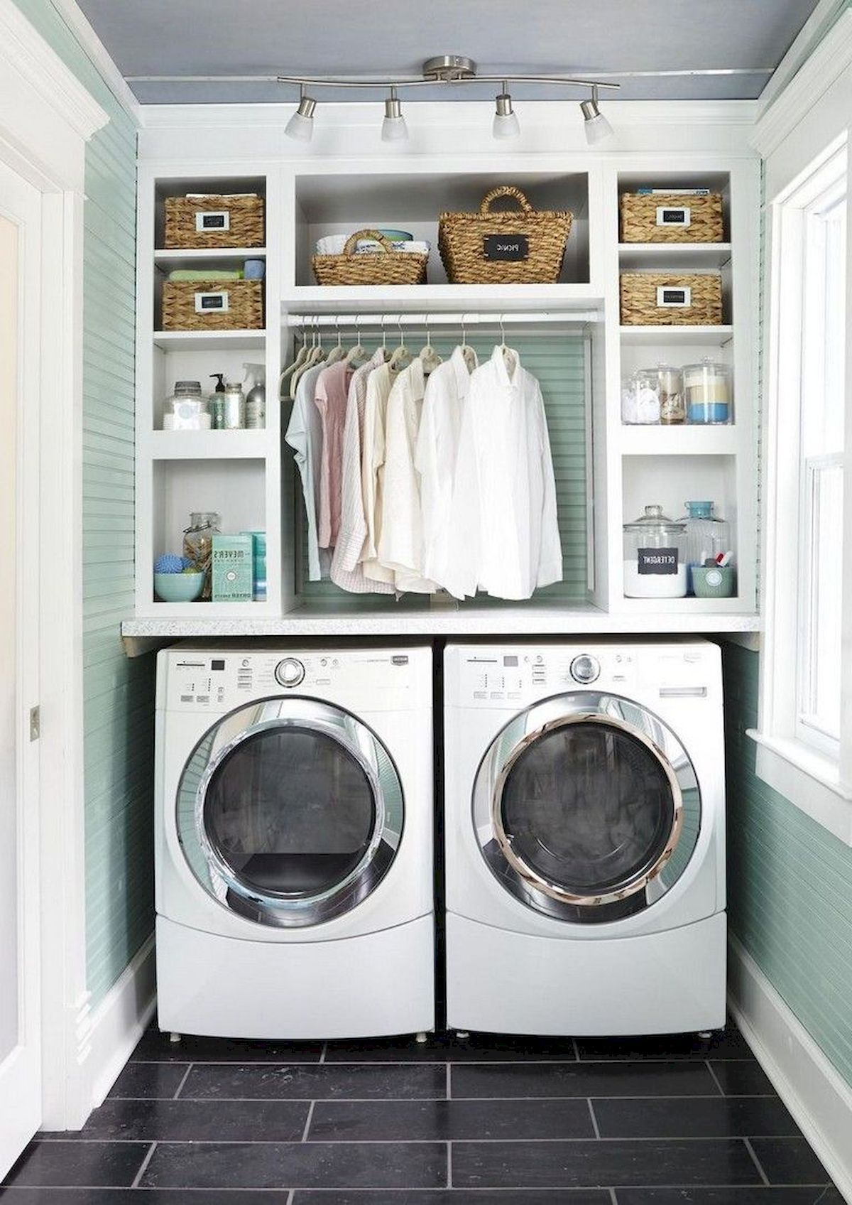 55 Best Small Laundry Room Photo Storage Ideas (26 images