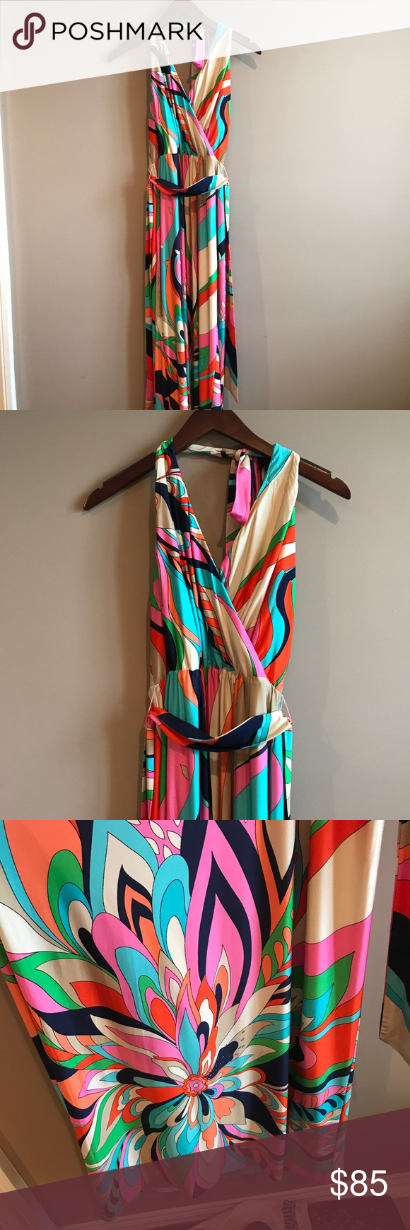 Mod brightly colored floor length halter dress Very mod styled floor length halter dress. Bright and youthful colors. In perfect condition! Trina Turk Dresses Maxi