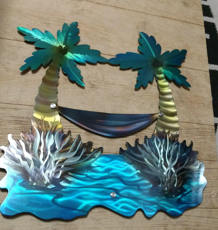 Palm Tree Wall Sculpture Etsy Handmade Nautical Metal Wall Art