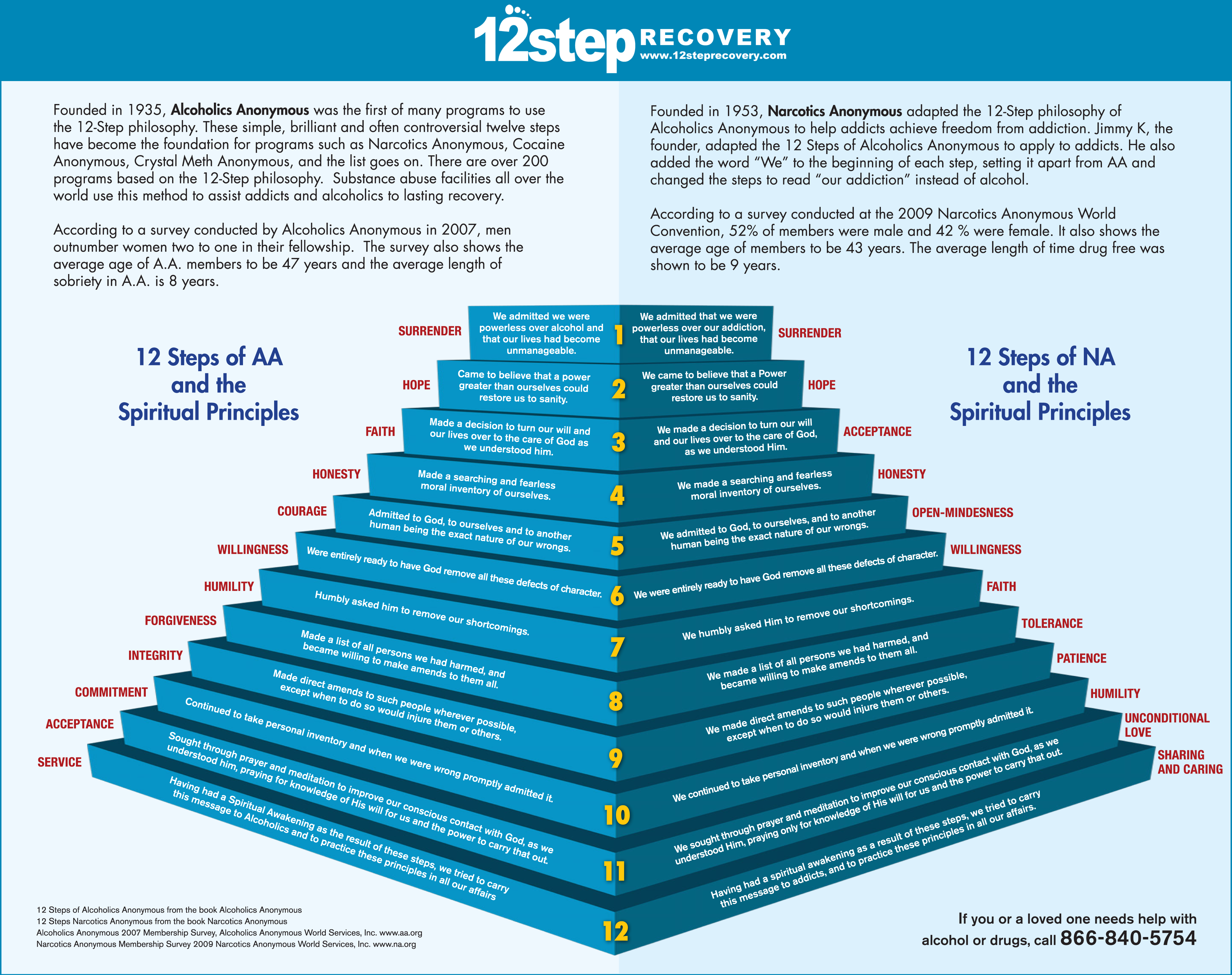 12 Step Recovery Steps and Spiritual Principals Infographic – Narcotics Anonymous 12 Steps Worksheets