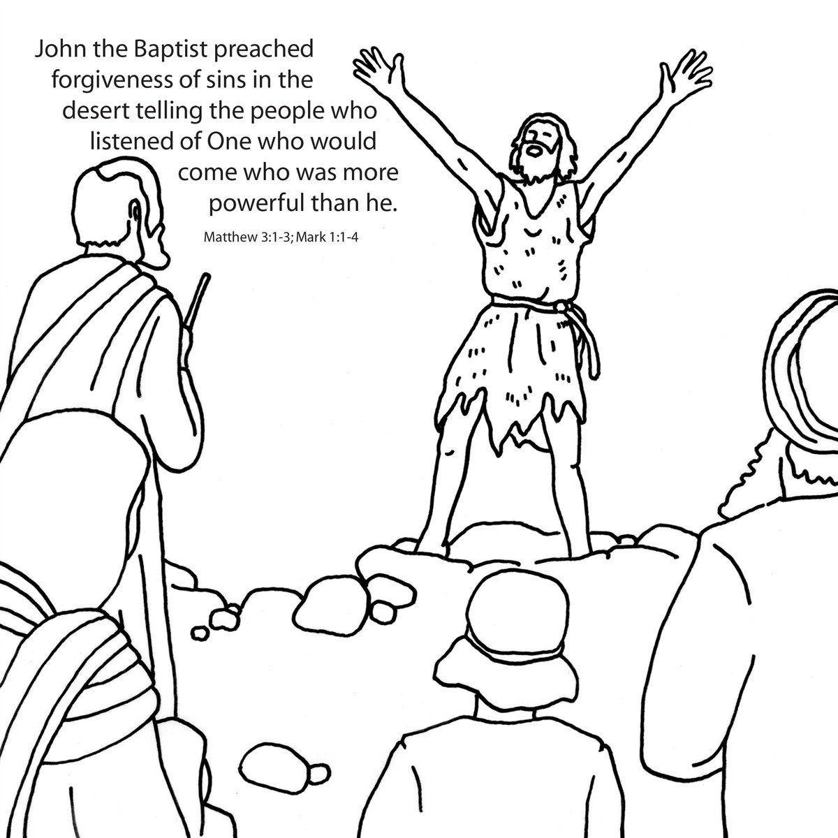 John The Baptist Coloring Card 12 Pk Size 6 X 6 John The Baptist Bible Coloring Pages Coloring Pages