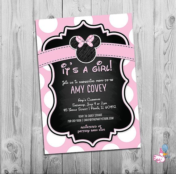 Minnie Mouse Baby Shower Invitation Printable Baby Shower