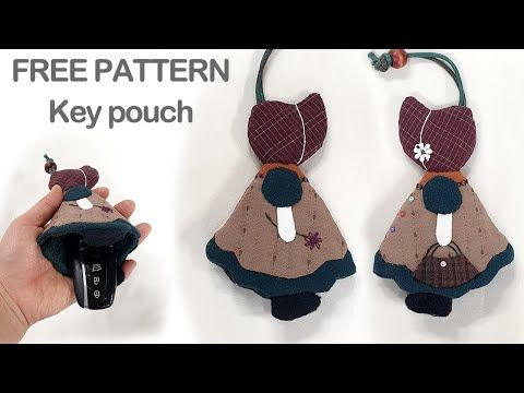 #0137 Quilt key pouch free patterns Cute girl - YouTube