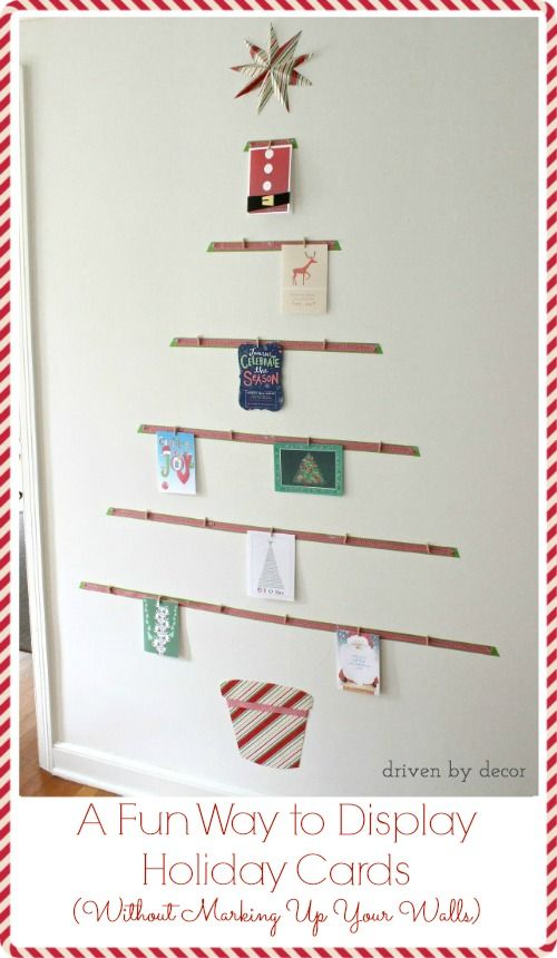 Displaying Cards With A Diy Christmas Card Tree Driven By Decor Christmas Card Display Holiday Card Display Diy Christmas Cards