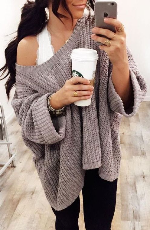 c2f4b0bcf31c morning coffee wearing cozy style Baggy Pullover