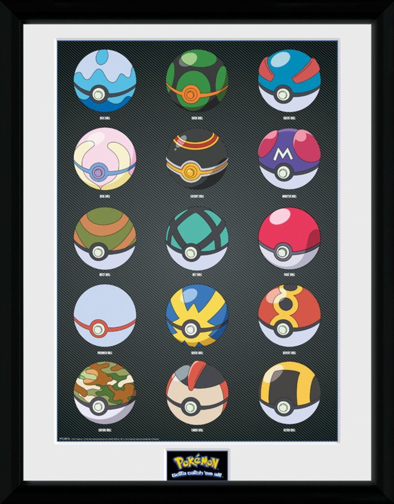 Pokemon - Pokeballs - Big Framed Collector Print. 25mm Moulding ...