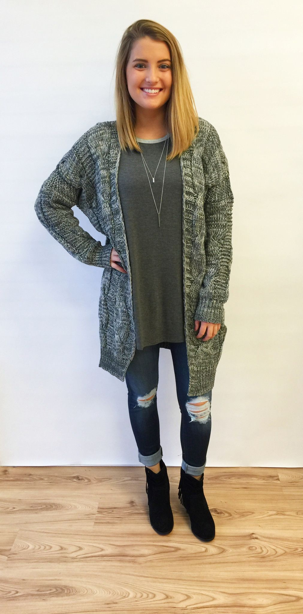 Charcoal Chunky Sweater Cardigan - The Style Bar Boutique - 2 ...