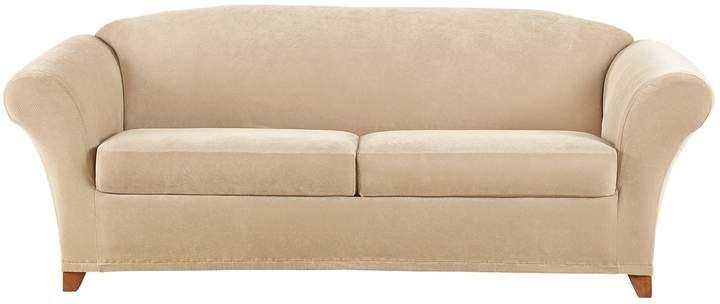 Sure Fit Stretch Pique Individual Box 2 Cushion Sofa ...