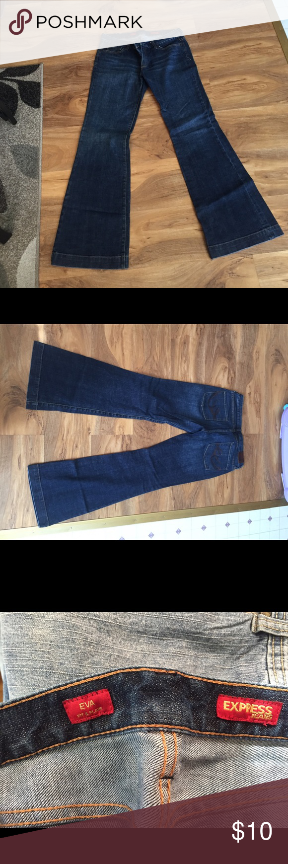 Express Jeans Express Eva fit and flare jeans. Dark colored. Never worn. Size 10 long. Express Jeans Flare & Wide Leg