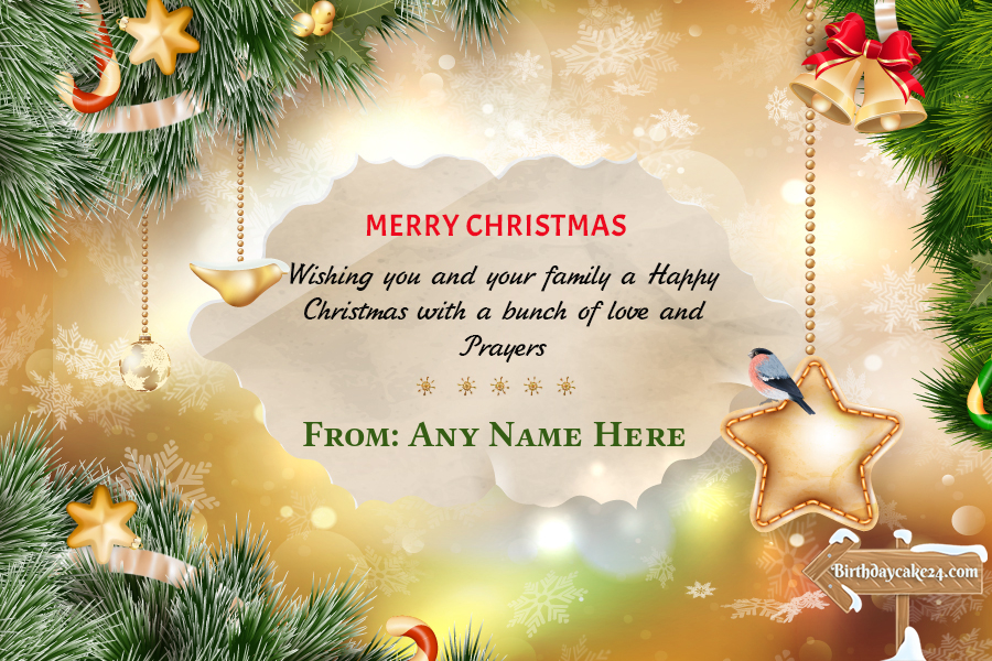 Decorate Sparkling Christmas Cards With Your Name Merry Christmas Card Greetings Merry Christmas Wishes Christmas Card Template