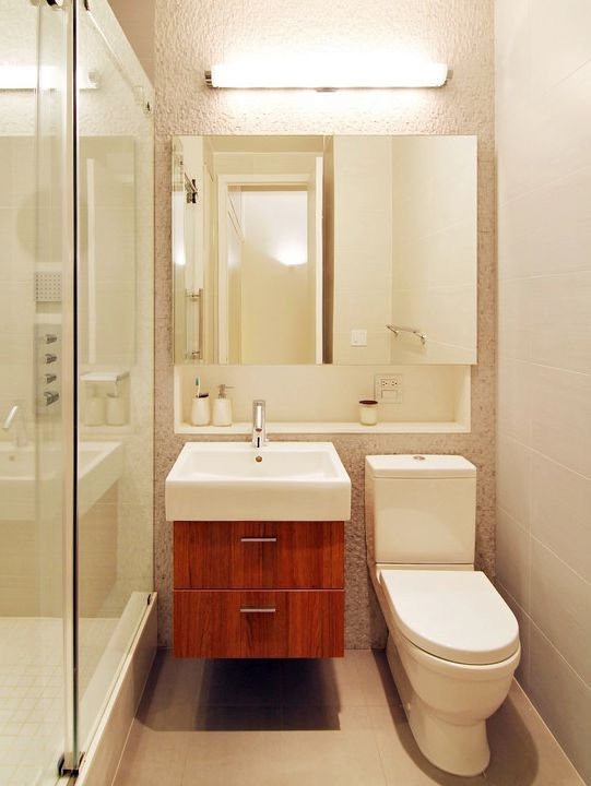 Modern 3/4 Bathroom with Vessel Sink, Glass shower door, Flush