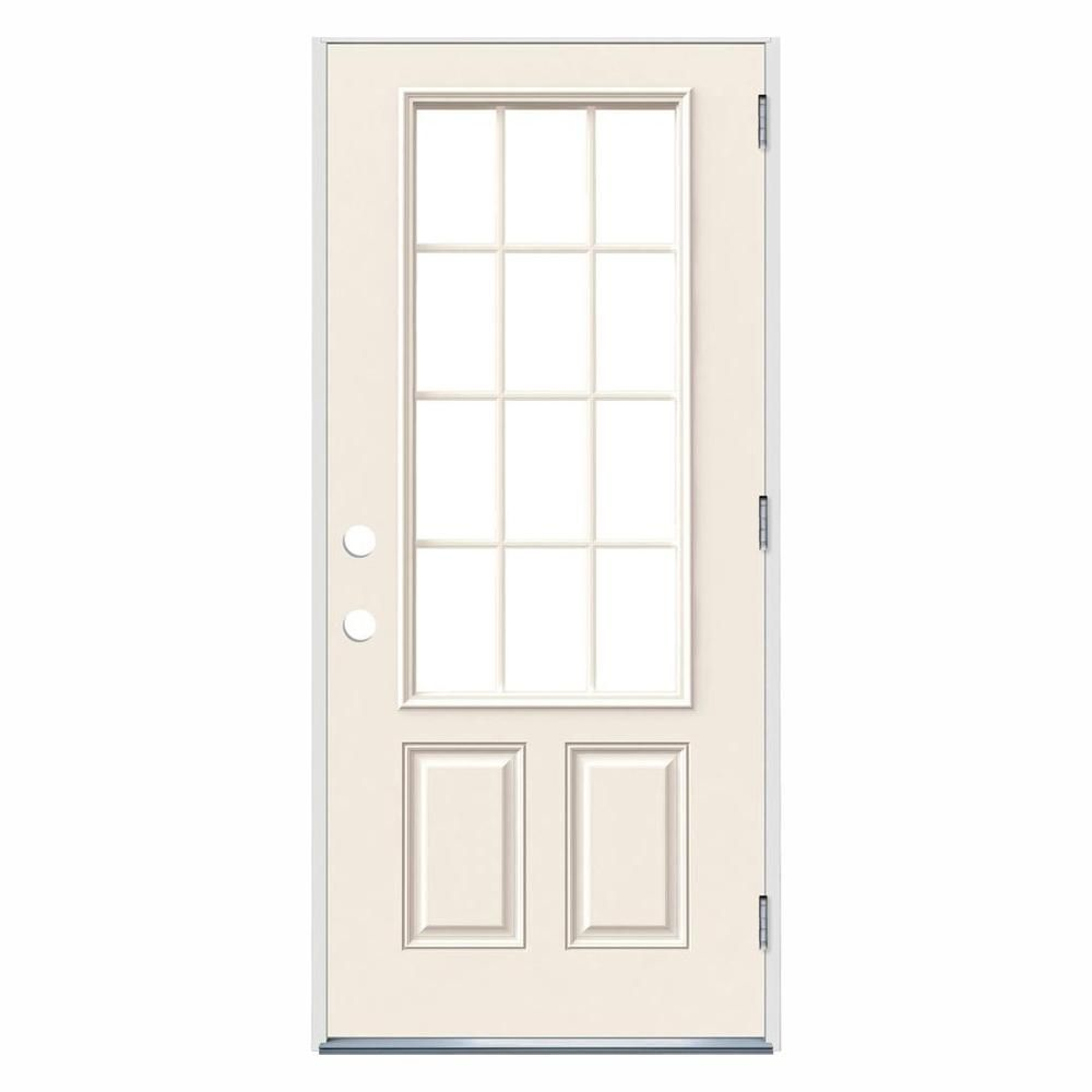 Jeld Wen 36 In X 80 In 12 Lite Primed Steel Prehung Left Hand Outswing Front Door Thdjw190900030 Front Door Brown House Exterior Single Doors