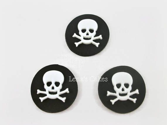Pirate Fondant Edible Cupcake Toppers Skull Crossbones Toppers
