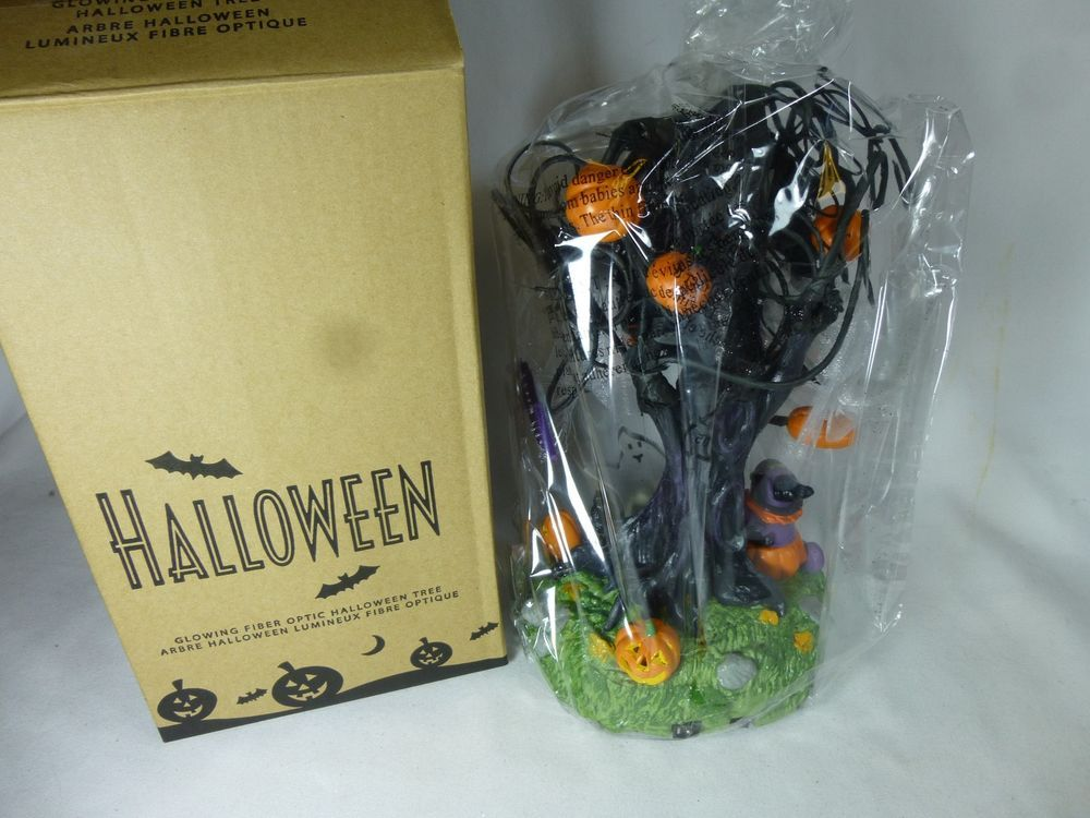 2007 Avon Glowing Fiber Optic Halloween Tree With Sound Light New In