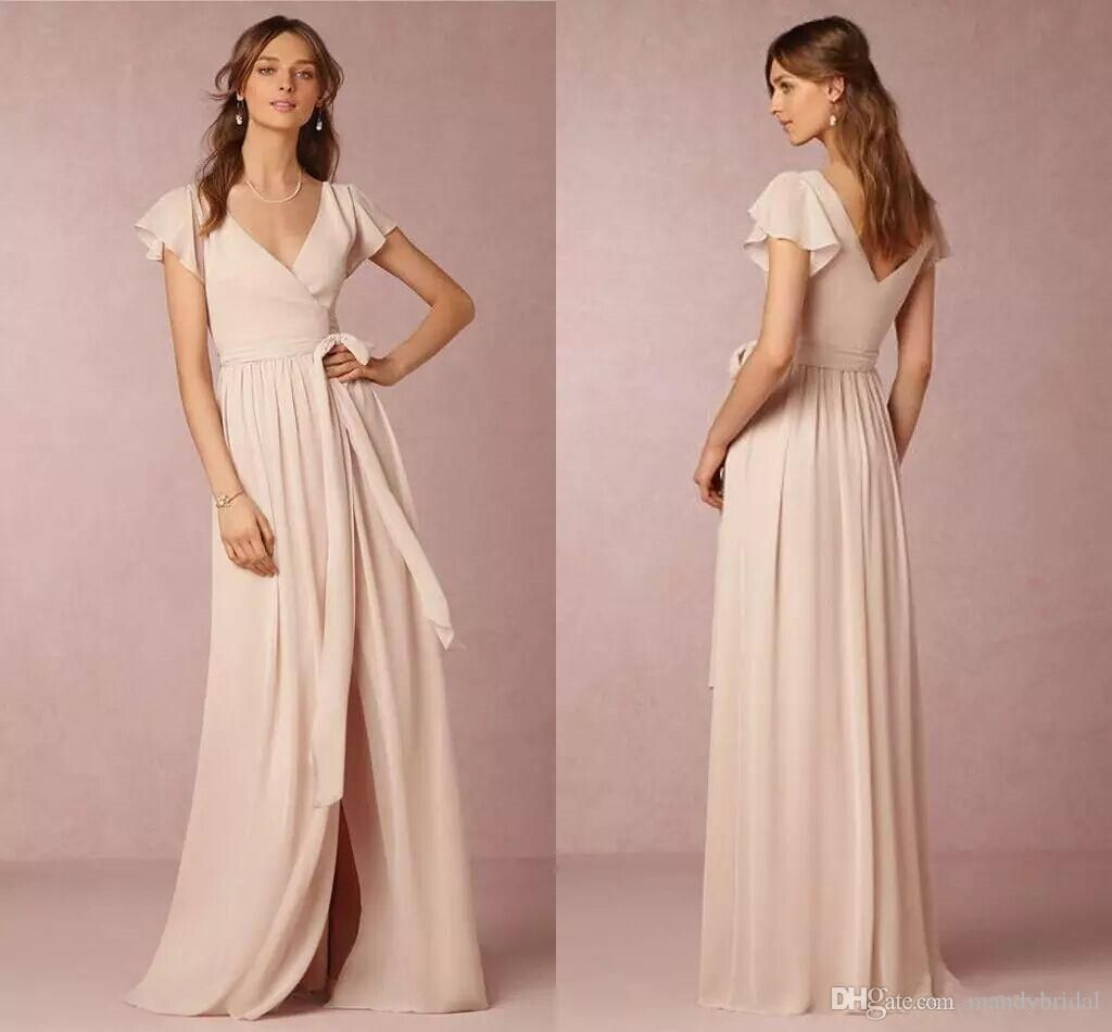 BHLDN Bridesmaid Dresses Light Pink 2018 Modest Side Split ...