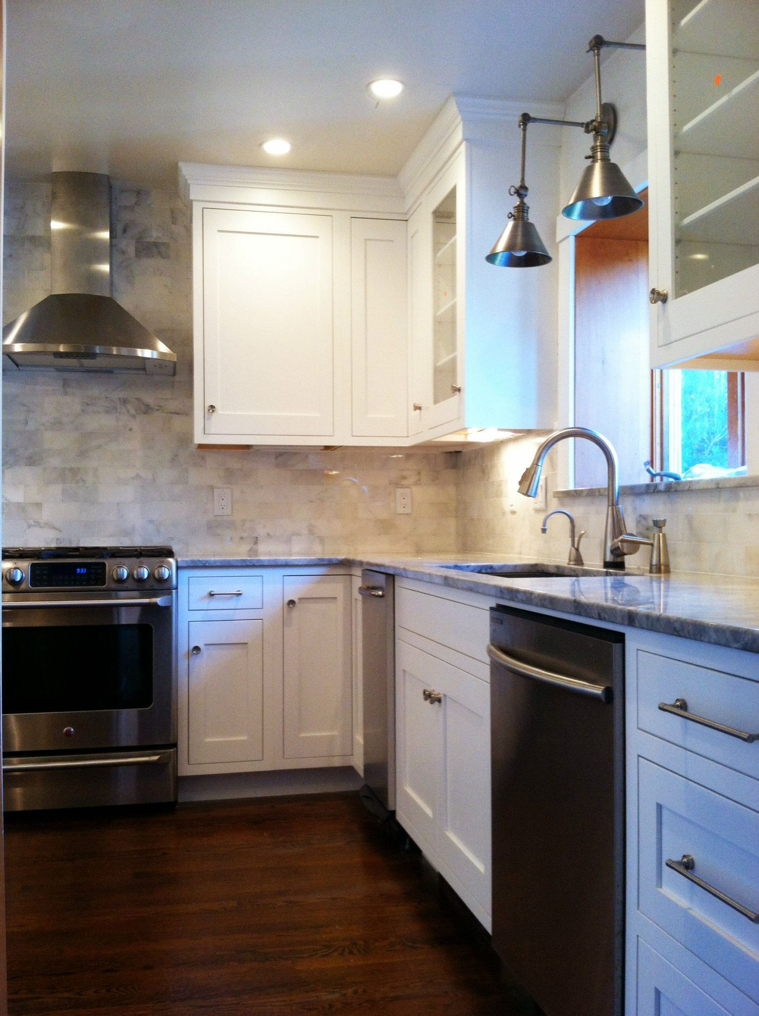 white transitional kitchen done by sherry croft of heartwood