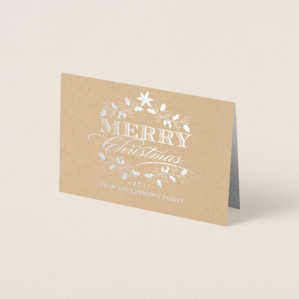 Merry Christmas Holly Wreath Vintage Typography Foil Card
