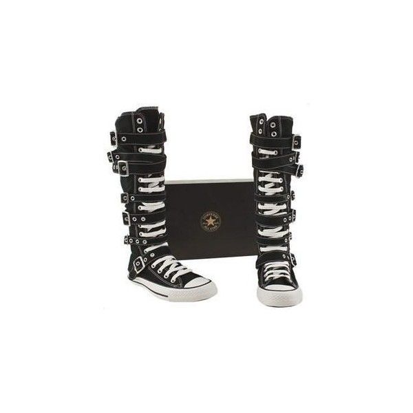 9e0f586cb63 Vegan knee high converse boots with buckles and straps Vegan Shoe... ❤  liked on Polyvore featuring shoes
